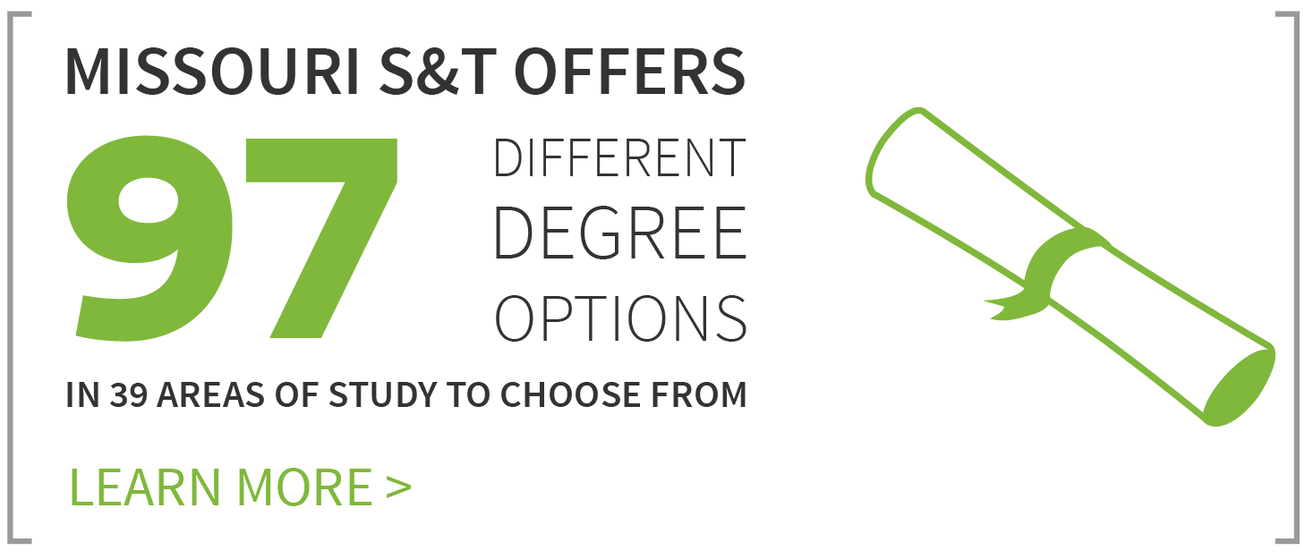 Missouri S&T offers 97 degrees in 39 areas of study.